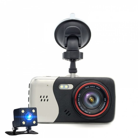 4.0 Inch IPS Screen Car DVR Camera T810 Oncam Dash Camera Full HD 1080P Video 170-Degree Dash Cam Black & Silver Gray