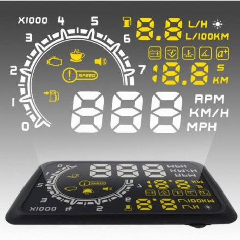 """W02 5.5"""" OBD2 Car Head-up Display HUD with Speedometer / Acceleration Water Temperature / Battery Voltage / Fuel Consumption / Shift Reminder / Overspeed Alert / Driving Safety Alert / Throttle Valve / Ignition Timing / 0-100KMH Time Black"""
