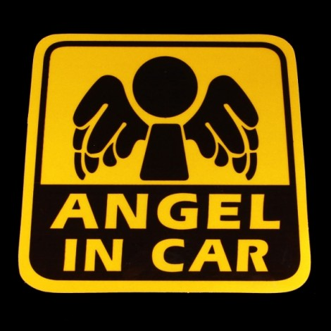 DIY ANGEL IN CAR Pattern Reflective PVC Car Decorative Sticker Golden & Black