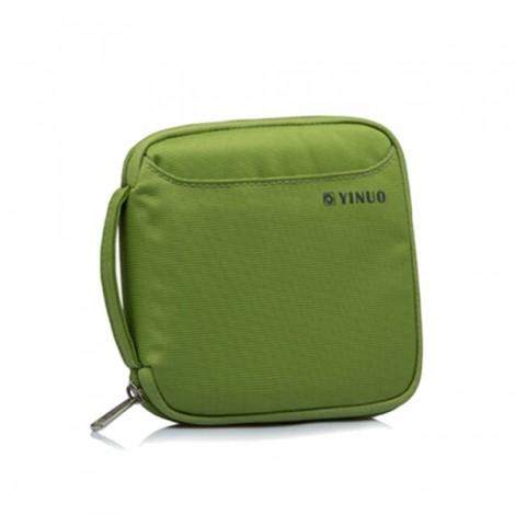 32-Sheet Portable Waterproof Square Oxford Fabric Disc CD DVD VCD Wallet Storage Organizer Holder Bag Green