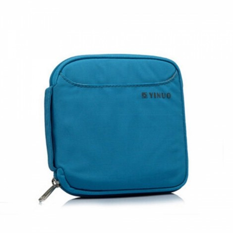 32-Sheet Portable Waterproof Square Oxford Fabric Disc CD DVD VCD Wallet Storage Organizer Holder Bag Blue