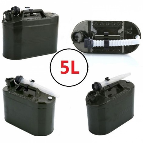5L 0.6mm Cold-rolled Steel Petrol Diesel Can Gasoline Bucket Spare Oil Tank with Anti-lost Cap & Oil Pipe