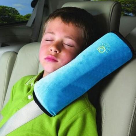 Cute Children Car Seat Belt Shoulder Protection Back Cushion Pillow Blue