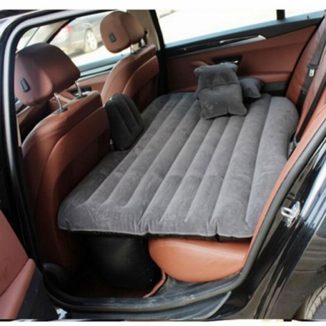 Self-drive Inflatable Car Bed Air Mattress Camping Car Back Seat Rest Inflatable Mattress with Ear Gray