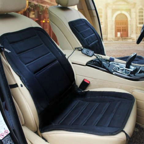 Car Heated Seat Cushion Cover Auto 12V Heating Heater Warmer Pad Winter Seat Cover Black