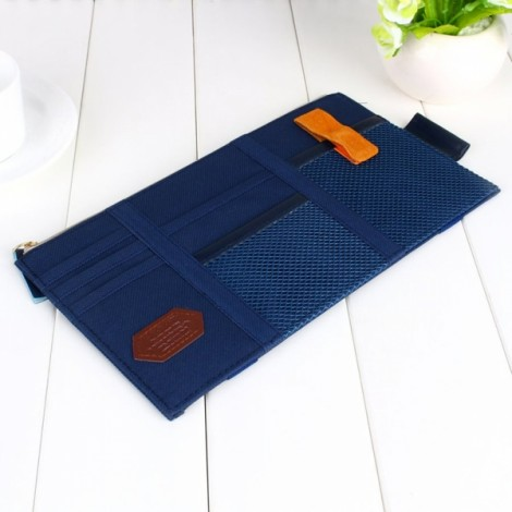 Multifunction Car Sun Visor Storage Pocket Organizer Bag Pouch Card Holder Navy