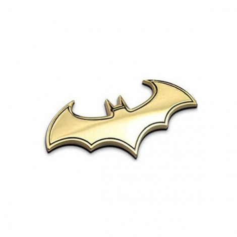 Cool Bat Shaped Pattern Metal 3D Car Sticker Decoration Golden