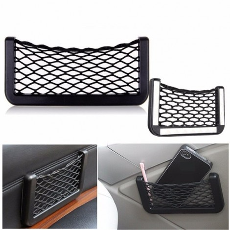 Car Auto Mesh Storage Bag Resilient String Phone Bag Holder Organizer 15*8cm