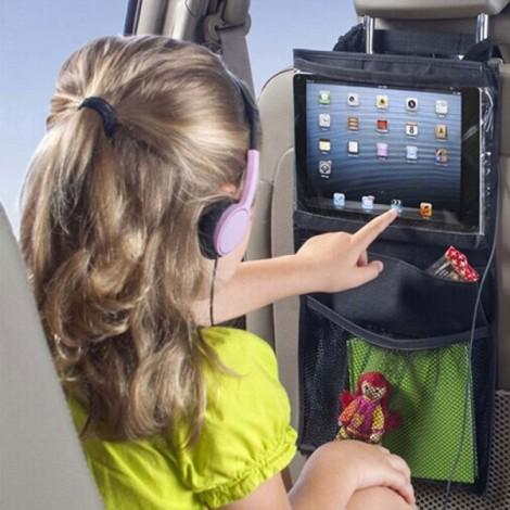 Car Seat Pad Tablet Bag Holder Hanging Storage Bag with Back Seat Pockets Black
