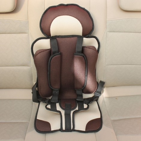 Portable Thickened Baby Child Safety Car Seat Beige & Coffee L