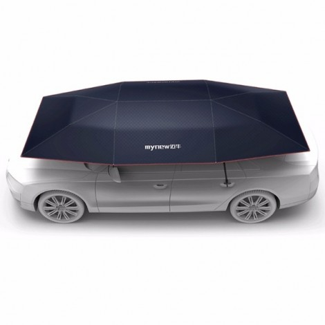 Mynew Portable Removable Semi-automatic Car Umbrella Sunshade Cover Navy
