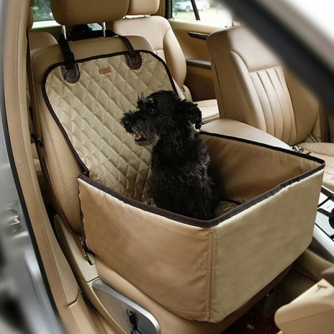 Pet Car Carrier Storage Bag Waterproof Seat Cover for Travel 45 x 45 x 58CM Beige
