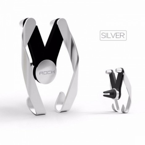 ROCK Resin M AutoBot Phone Stand Car Air Vent Mount Holder for Cellphone Under 7 Inches Silver