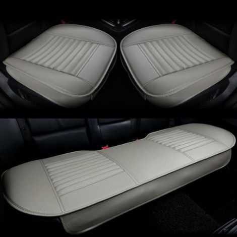 3pcs/Set 3D Leather Car Seat Cushion Car Bamboo Charcoal Single Driver Seat Cover for All Sedan Gray