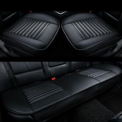 3pcs/Set 3D Leather Car Seat Cushion Car Bamboo Charcoal Single Driver Seat Cover for All Sedan Black