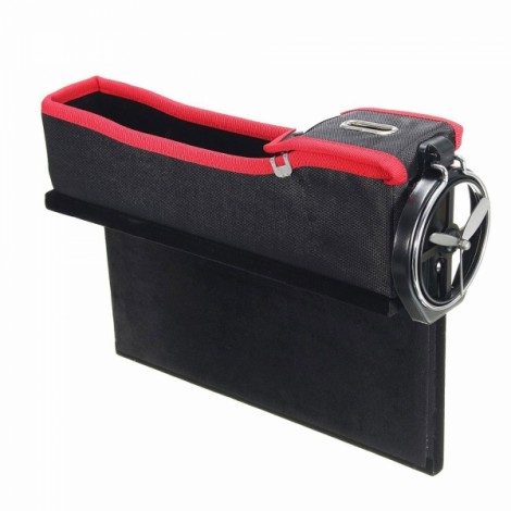 1pc PU Leather Right Car Seat Catcher Gap Storage Box Coin Organizer Cup Holder Black & Red