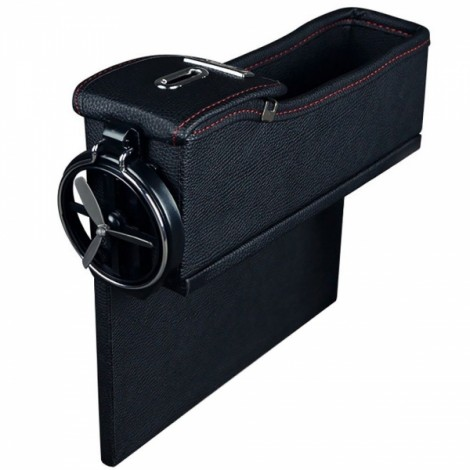 1pc PU Leather Left Car Slit Storage Box Coin Organizer Cup Holder Black