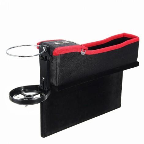 1pc PU Leather Left Car Seat Catcher Gap Storage Box Coin Organizer Cup Holder Black & Red