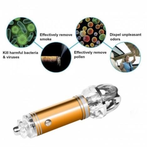 Car Fresh Air Ionic Purifier Oxygen Bar Ozone Ionizer Cleaner Golden