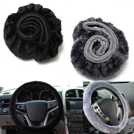 2pcs Warm Plush Winter Car Steering Wheel Cover Soft Auto Accessories Black & Gray