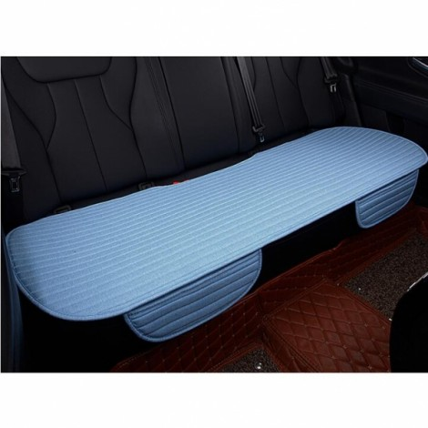 Universal Linen Ventilated Breathable Nonslip Car Backseat Rear Seat Cushion Cover Pad Mat - Blue