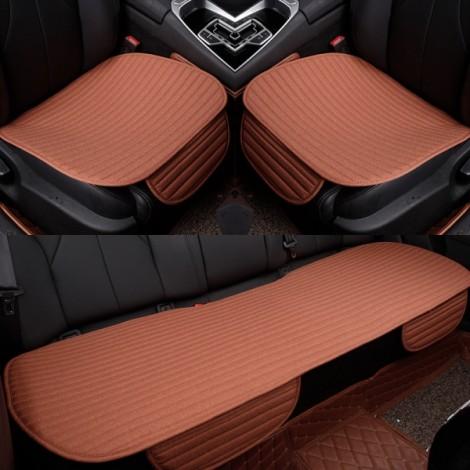 3Pcs/Set Universal Linen Ventilated Breathable Nonslip Car Front Back Seat Cushion Cover Pad Mat - Dark Orange