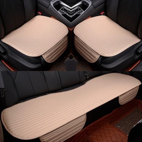 3Pcs/Set Universal Linen Ventilated Breathable Nonslip Car Front Back Seat Cushion Cover Pad Mat - Beige