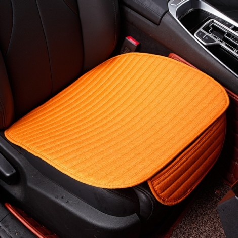 Universal Linen Ventilated Breathable Nonslip Car Front Seat Cushion Cover Pad Mat - Bright Orange