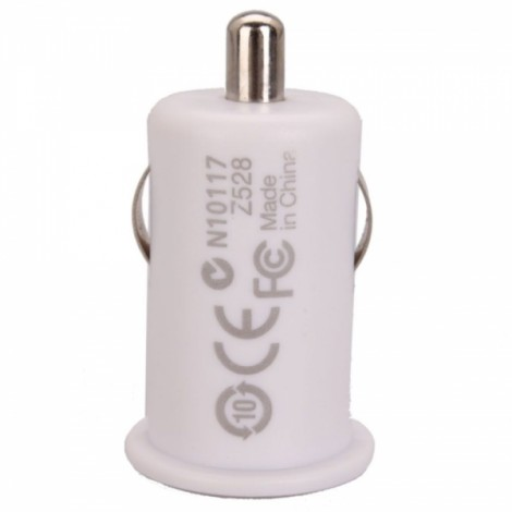 Mini 1A Power Car USB Adapter/Charger White (DC 12V)