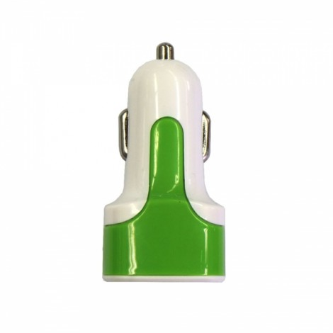 Dual USB 3.1A Car Charger with Voltage Display Green