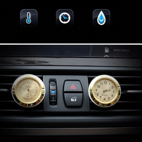 Car A/C Vent Clip Thermometer Clock Gauge Trim Perfume Refill Storage Fragrance with 140g Perfume Golden Clock + Golden Thermometer
