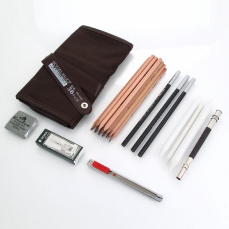 18 Sketch Pencils Charcoal Extender Eraser Paper Pen Cutter Drawing Set