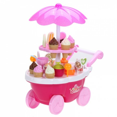 Electric Candy Ice Cream Cart Trolley Flashing Light Kid Musical Toy 39-Piece Set Pink
