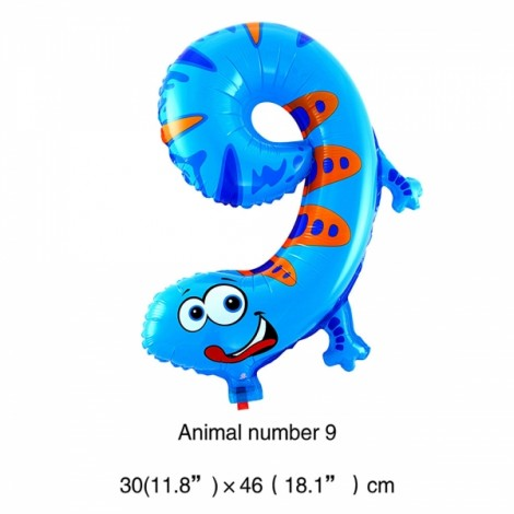 16 inch Animal Number Aluminum Foil Balloon Birthday Party Decoration Balloon Number 9