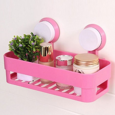 Plastic Bathroom Shelf Kitchen Storage Box Organizer Basket with Wall Mounted Suction Cup Pink