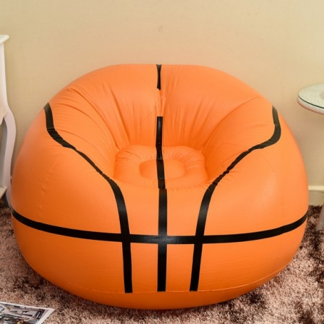 Portable Basketball Pattern Flocking Fast Inflatable Lazy Sofa Chair Sleep Bed Home Garden Furniture Orange & Black