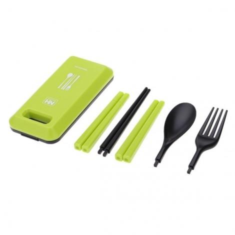 Outdoor Travel Picnic Portable Tableware Set Eco-friendly ABS Chopsticks Spoon Fork Storage Box Green