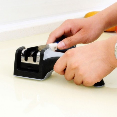 Square Hand Shank Dual Heads Kitchen Knife Sharpener Gray