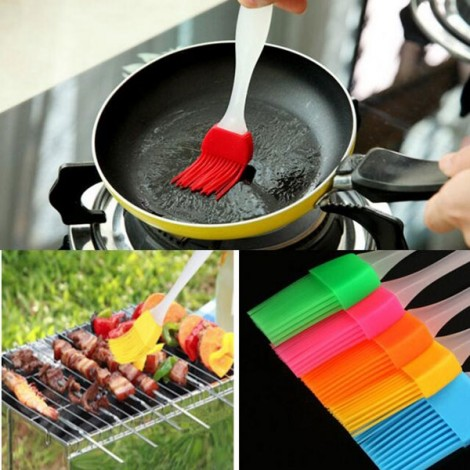 Heat Resisting Silicone BBQ Basting Barbecue Baking Cooking Oil Brush Red