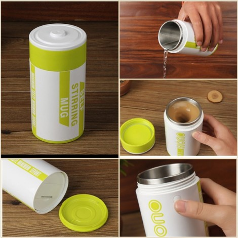 Battery Shape Automatic Coffee Mixing Cup Stainless Steel Milk Mixing Cup Vacuum Insulation Cup Green