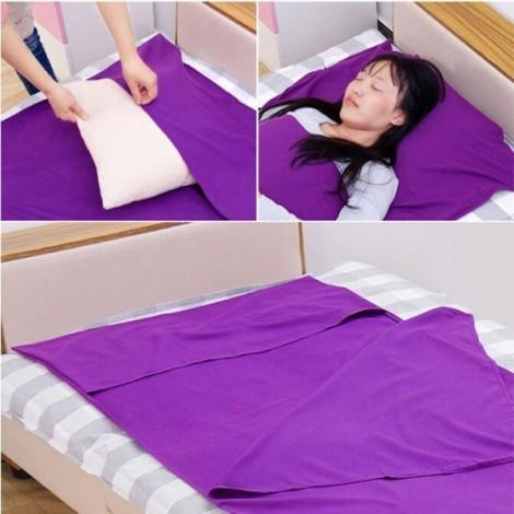 Portable Outdoor Camping Single Sleeping Bag Liner Blanket Purple
