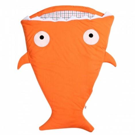 Cute Cartoon Shark Style Newborns Sleeping Bag Winter Strollers Bed Blanket Orange