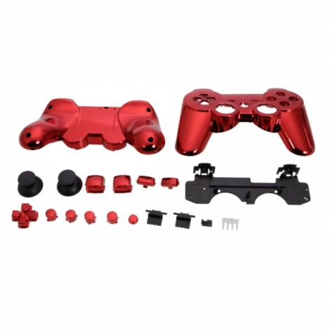 Plastic Cover Shell Case + Buttons Kit for PS3 Controller Plating Red