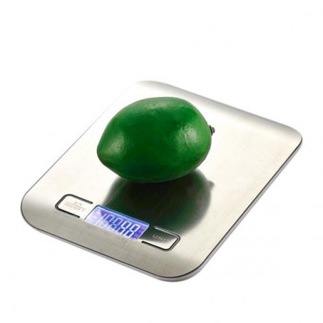 5000g / 1g LCD Digital Kitchen Scale Backlight LCD Fingerprint-proof Finish Stainless Steel Weighing Device Silver White