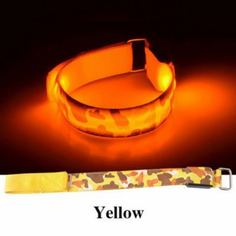 Cool LED Light Fluorescent Night Running Bike Riding Cycling Armband Yellow