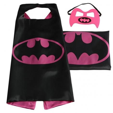 Kids Super Hero Cape & Mask Bat Cosplay Costume Boy Girl Suit Rose Red & Black