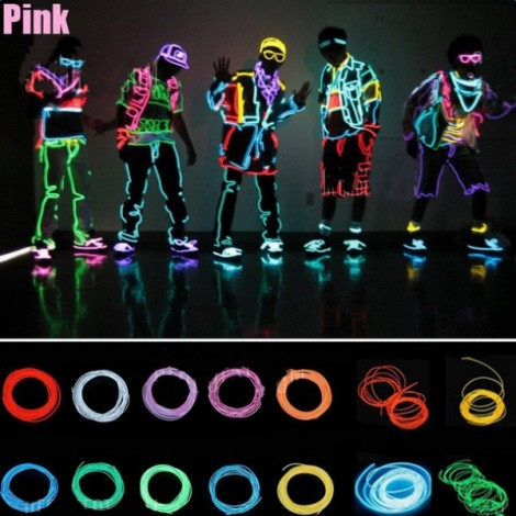 4M Flexible Neon EL Wire Light 3-Mode Party Dance Decor Light Pink