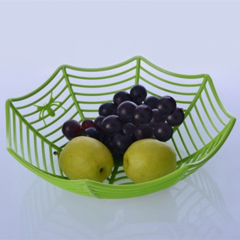 Plastic Spider Web Fruit Candy Basket Bowl Halloween Party Decor Green