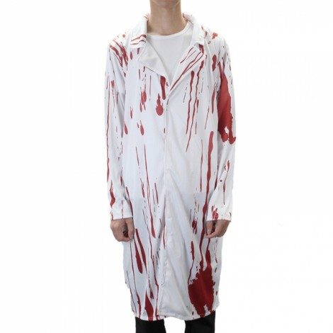 Halloween Costume Terror Nurse and Doctor Clothes with Blood Adult Costume White & Red