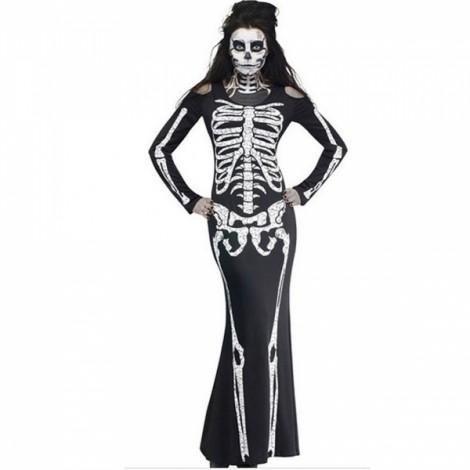 Women's Scary Skeleton Long Dress Halloween Cosplay Costume - L